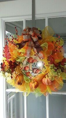 Beautiful large Fall wreath, bright and colorful perfect for the autumn season.