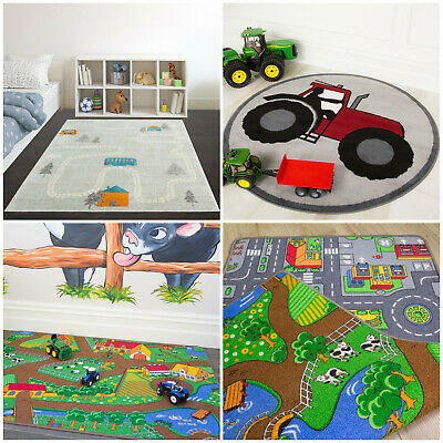 Modern Countryside Tractor Farm Life Kids Mats Children's Rugs Road Map Playmats