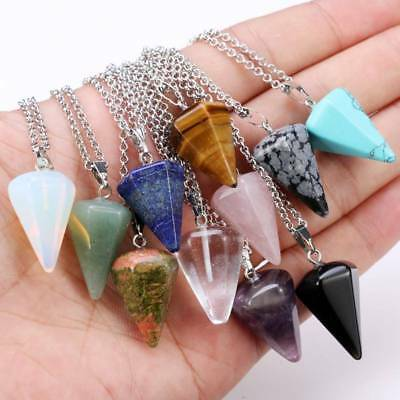 Natural Crystal Stone Point Chakra Healing Gemstone Pendants Necklaces Jewelry