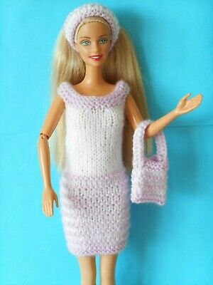 Hand knitted clothes for Barbie/Sindy dolls  Lilac/white dress, bag & hairband