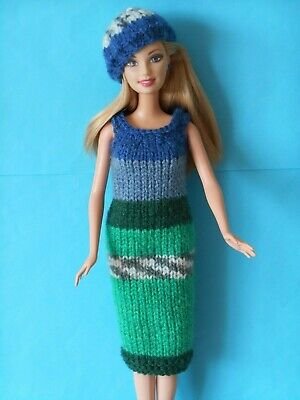 Hand knitted clothes for Barbie/Sindy dolls.Random blues/greens dress & beret