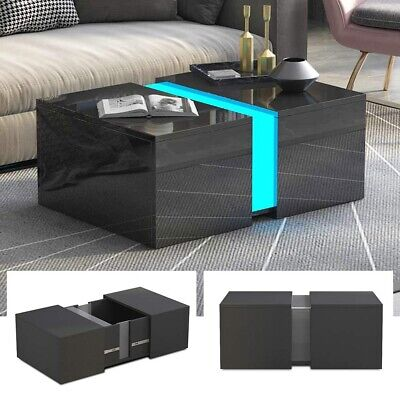 New Living Room Table Black High Gloss Coffee Tea Table with Large Storage Space