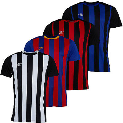Mens Umbro T-Shirts Short Sleeve Football Top Capital Stripe Crew Neck Match Tee