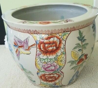 "Vintage Chinese Porcelain Fishbowl Floral Planter LARGE 11.5"" tall x 13.5"" wide"