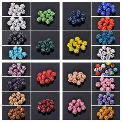 50pcs 10mm Czech Crystal Rhinestones Pave Clay Round Disco Ball Spacer Beads