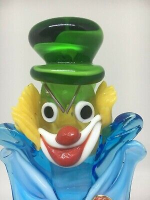 Murano Hand Blown Art Glass Clown Green Hat Blue Bow Tie Approx. 8.5""