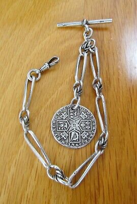 Antique SILVER FANCY LINK SINGLE ALBERT WATCH CHAIN WITH GEORGE 111 SHILLING FOB