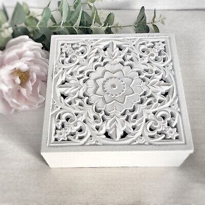 Shabby Vintage Chic WHITE Wooden Ornate STORAGE BOXES Carved Trinket Small Large