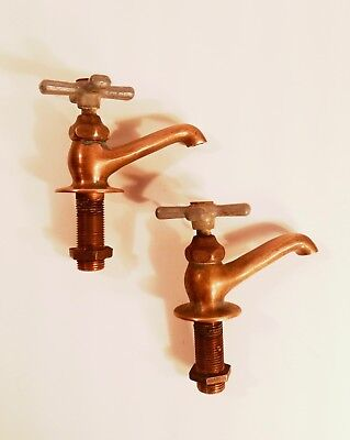 Vintage Early 1900's Brass W/ Aluminum Handles Hot & Cold Sink Bath Faucets NICE