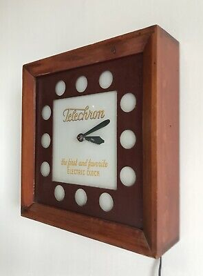 Antique Vintage Telechron Electric Clock Light Glass Wood Advertising Sign 40's
