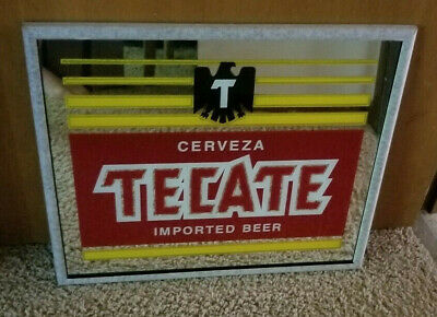 Cerveza Tecate Imported Beer Mirror Sign Bar New Old Stock 1977