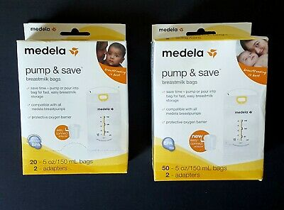 Medela Pump and Save Breast Milk 70 Bags 4 Adapters Free Shipping *sealed boxes*