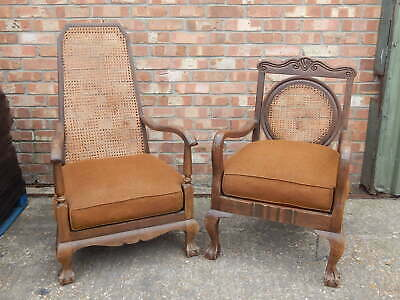 2x antique mahogany parlour chairs with bergere woven back victorian art deco