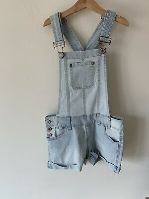Girls New Look Age 12 Light Blue Denim Dungarees Shorts