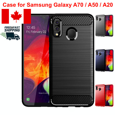 For Samsung Galaxy A70 A50 A20 Case Cover TPU Carbon Fiber Slim Rugged Textured