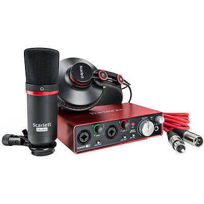 Focusrite Scarlett 2i2 Studio (2nd Gen) USB Audio Interface Headphones Mic Setup