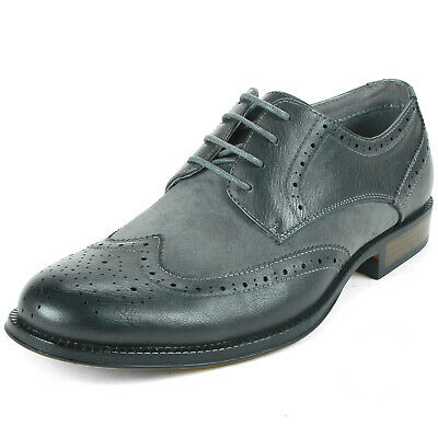 Alpine Swiss Mens Wing Tip Dress Shoes Oxfords Tone Gray Size 9