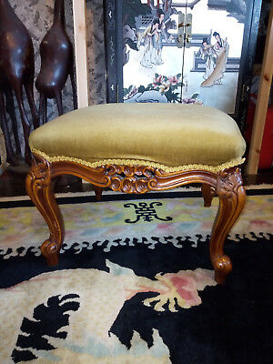 Antique French Carved Walnut Footstool