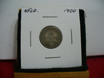 1904  Canada  Silver  Dime 1/10  Dollar  10 Cent Coin   Newfoundland  Sterling