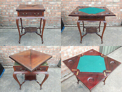 Stunning antique Victorian envelope folding card games bridge table with drawer
