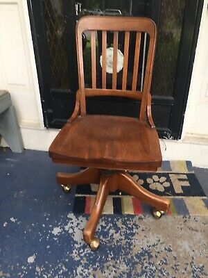 WH GUNLOCKE ANTIQUE OFFICE CHAIR WAYLAND NY 1920s VINTAGE OAK SWIVEL TILT BACK