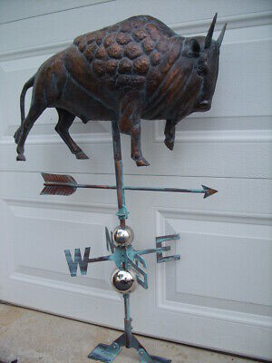 Large 3D Bison Buffalo Weathervane Handcrafted Weather Vane Copper Patina Finish