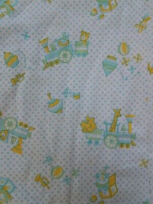 Vintage 70s 80s Carters Baby receiving Blanket Trains Clowns Animals Yellow Blue