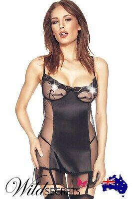 NEW Anais Portia Satin & Mesh Chemise with G-String & Lace-Up Back, Wild Secrets