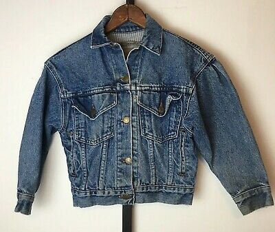 Vintage 80s Levis 900 Series Denim Jacket Girls Size M Blue Jean Made in the USA