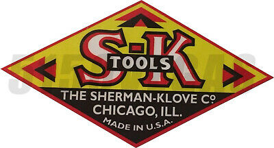 "SK TOOLS VINTAGE STYLE USA Car Bumper Window Tool Box Sticker Decal 4""X 7.5"""