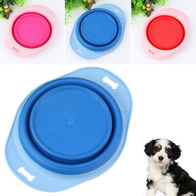 Portable collapsible pet dog non-slip food water travel eating dish feeder Hot