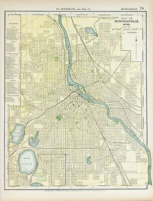 1891 Minneapolis Minnesota Antique Map