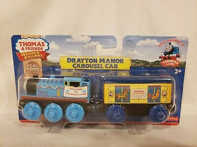 Thomas wooden Railway Rare Exclusive Thomas Land Drayton Manor Carousel Car New