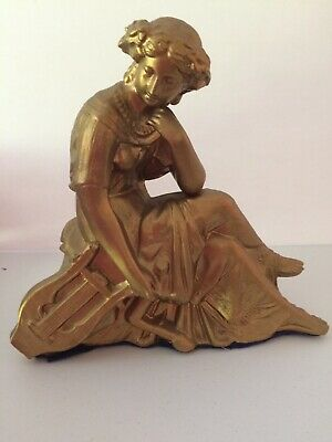Antique Gold Finish Lady with Lyre Mantle Clock Topper Statue