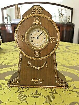 Antique Mantel Clock French Empire Mahogany Wood With Gilt Bronze