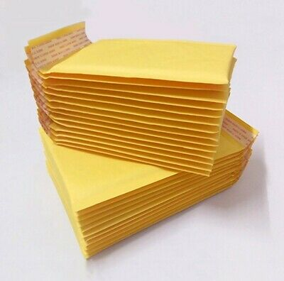 8 pcs Genuine Yellow Bubble Padded Envelopes Mailers kraft Paper Packing B Fast