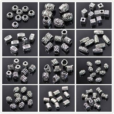 Varisized Silver Plated Loose Spacer Beads Charms Jewelry Making Findings DIY