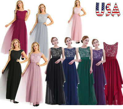 Women Elegant Dress Evening Ball Gown Party Bridesmaid Prom Cocktail Long Maxi