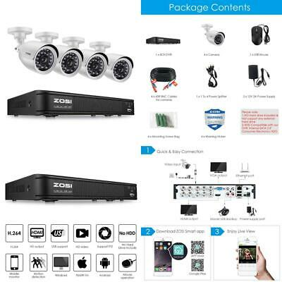 ZOSI 720P 8-Channel Home Security Camera System,1080N HD-TVI 720p:8CH+4Camera