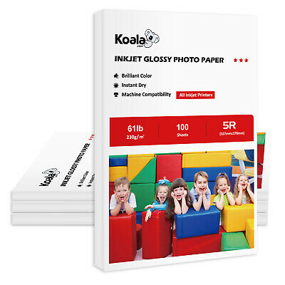 "LOT OF 400 Sheets Koala 5x7 Premium 7"" Glossy Inkjet Photo Paper 230gsm Canon"