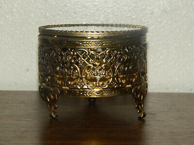 Vintage French Ormalu Footed Filigree Metal Jewelry Casket Box With glass Lid.