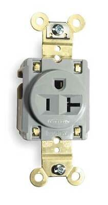 HUBBELL WIRING DEVICE-KELLEMS HBL5361GRY 20A Single Receptacle 125VAC 5-20R GY