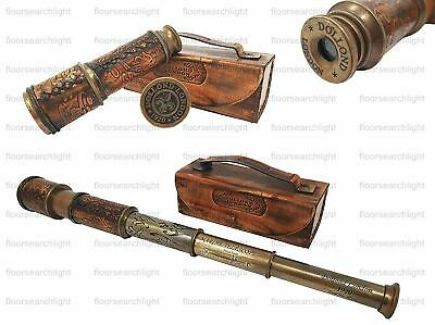 Dollond London Antique Brass 1920 TELESCOPE Marine Collectible With Leather Box
