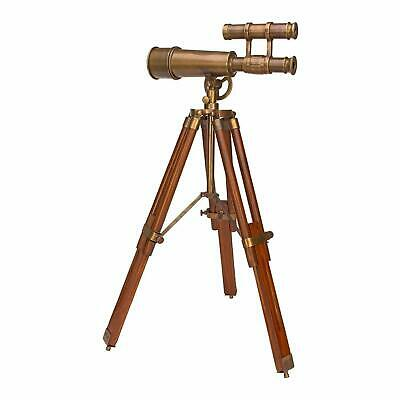 Antique Brass Telescope Double Barrel With Wooden Tripod Collectible Marine Gift