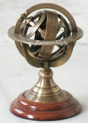 ARMILLARY SPHERE 5.5 Inch Antique Brass With Marine Maritime Engraved Globe