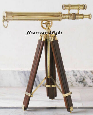 Double Barrel Telescope W/Wooden Tripod Stand Nautical Brass Golden Shiny Gift
