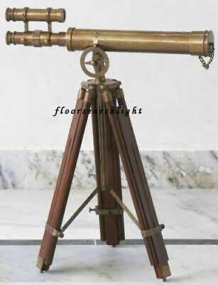 TELESCOPE NAUTICAL DOUBLE BARREL STAND PIRATE SPYGLASS BRASS Antique Finish