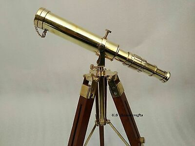 Nautical Telescope Brass Beautiful Antique Collectible On Tripod Shiny Decor