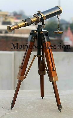 """Antique 10"""" Telescope Antique Finish Vintage Brass Nautical With Wooden Tripod"""
