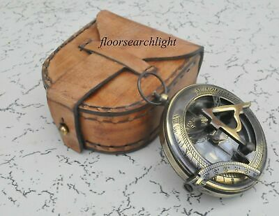 """Brass PUSH BUTTON Compass 2"""" With Handmade Leather Case Collectible Gift"""